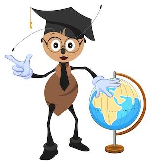 Ameisenlehrer hält globus. geografielehrer