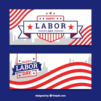 Amercian arbeitstagesfahnen mit flachem design