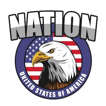 American eagle designvintage gerstenkorn mit schwarzer umrandung