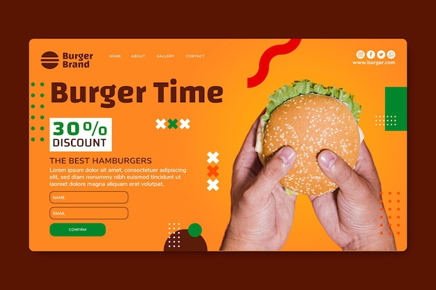 American food landing page vorlage mit burger