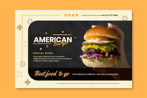 American food pub banner vorlage