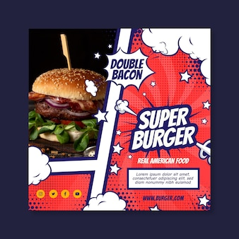 American food square flyer vorlage design