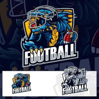 American football godzilla sport logo