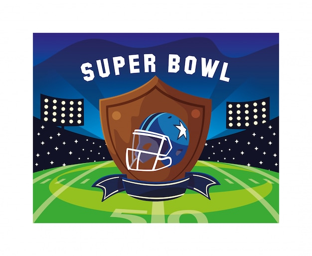 American football helm im schild mit schleife,