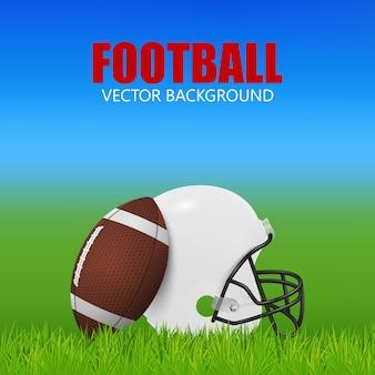 American football hintergrund - weißer helm und ball auf dem feld.
