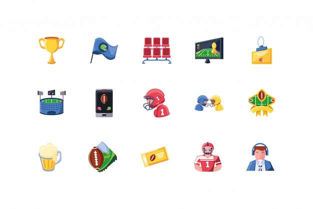 American football-icon-set