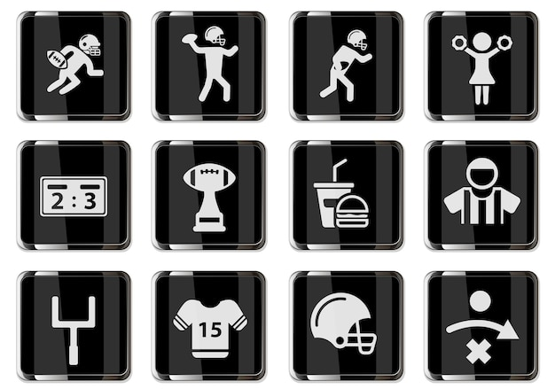 American-football-piktogramme in schwarzen chromknöpfen. symbole für das design der benutzeroberfläche
