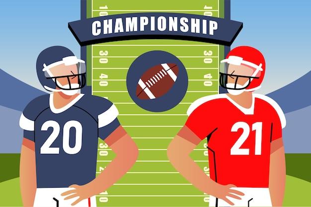 American-football-spieler aus verschiedenen mannschaften