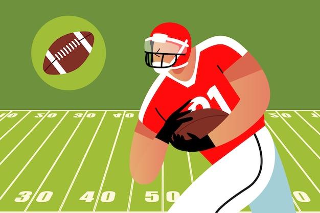 American-football-spieler läuft mit dem ball