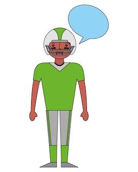 American football-spieler mit sprechblase