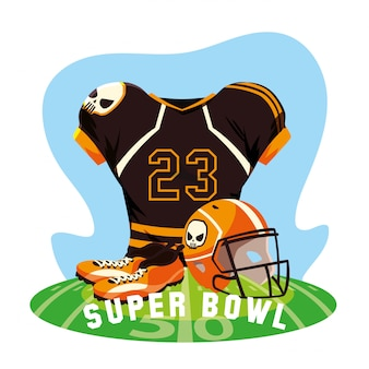 American football spieler outfit sportanzug, label super bowl