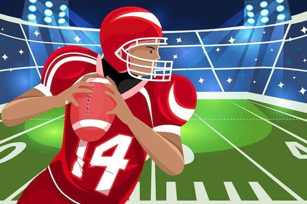American-football-spieler vor dem feld