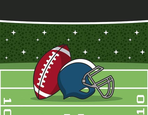 American-football-stadion mit sportgeräten