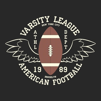 American football varsity league print logo grafikdesign für t-shirt sportbekleidung