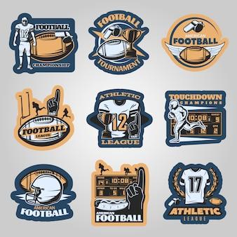 American-football-wettbewerbe embleme mit laufenden spielern schaum hand sportgeräte