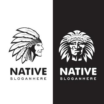 American native indian chief kopfschmuck mit hutfeder logo illustration