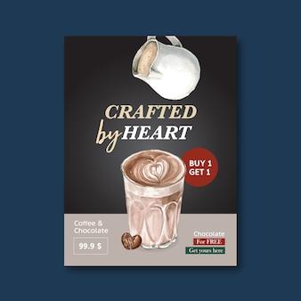 Americano, cappuccino-kaffeeplakatrabatt, schablone modern, aquarellillustration