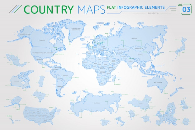 Amerika, asien, afrika, europa, australien, ozeanien, mexiko, japan, kanada, brasilien, usa, russland, china vektorkarten
