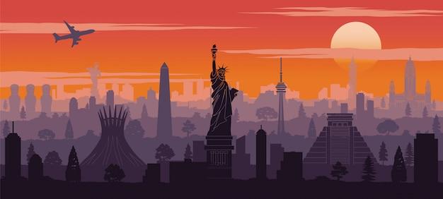 Amerika berühmten wahrzeichen silhouette stil
