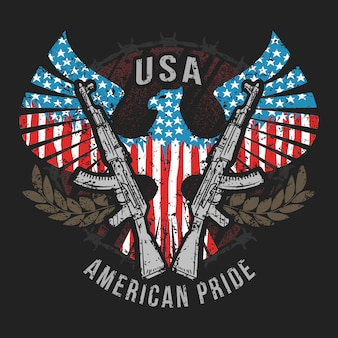 Amerika eagle usa flagge und maschinengewehr