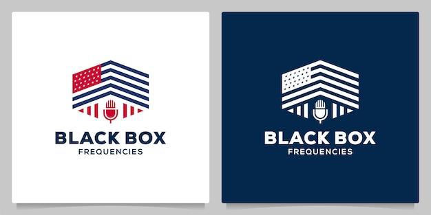 Amerika flagge geometrische mikrofon podcast logo designkonzepte
