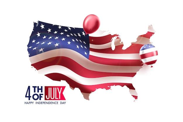 Amerika karte und wehende flagge. unabhängigkeitstag der usa 4. juli mit flaggendekor der amerikanischen luftballons