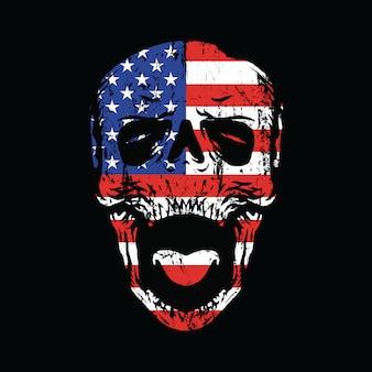 Amerika-nationalismus bis zum ende grafischer illustrations-kunst-t-shirt entwurf