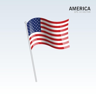 Amerika wehende flagge isoliert auf grau