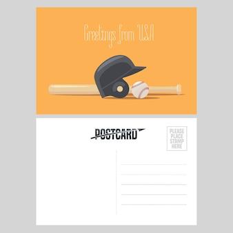 Amerikanische baseballausrüstung illustration. element für luftpostkarte aus den usa für die reise nach amerika konzept mit baseballball und schläger gesendet