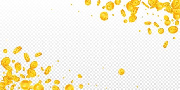 Amerikanische dollarmünzen fallen. verstreute usd-münzen holen. usa-geld. großes jackpot-, reichtums- oder erfolgskonzept. vektor-illustration.