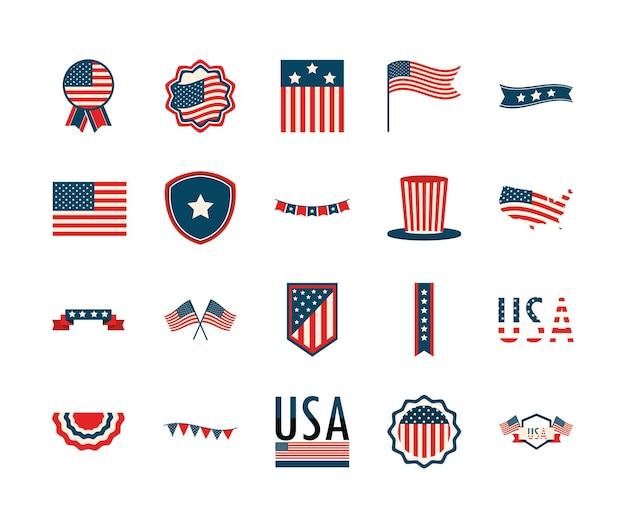 Amerikanische embleme flaggen