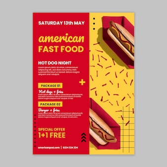 Amerikanische fast-food-plakatschablone