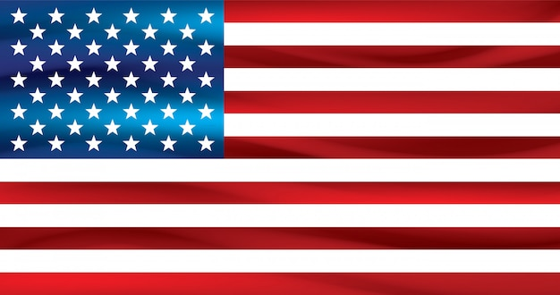 Amerikanische flagge auf weißem hintergrund.