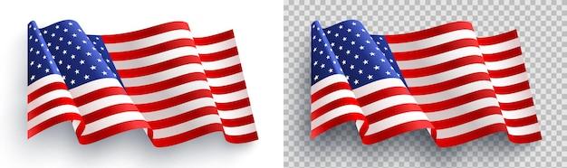 Amerikanische flagge auf weißem und transparentem hintergrund für 4. juli-plakatschablone. usa-unabhängigkeitstagfeier. usa 4. juli-werbebanner-vorlage für broschüren, poster oder banner
