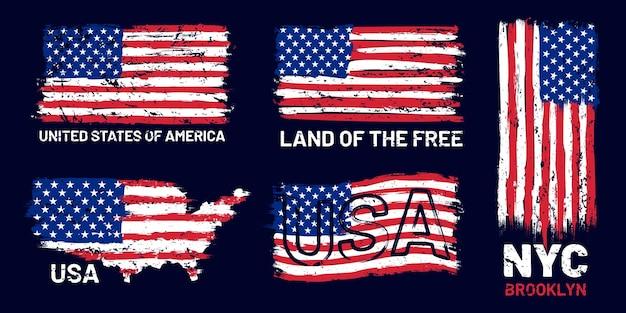 Amerikanische flagge grunge. patriotischer stil mit uns flagge und schriftzug, t-shirt und poster grafikdesign grunge texturen vektor-set. usa-flagge grunge vintage textur, illustration vereint patriotisch