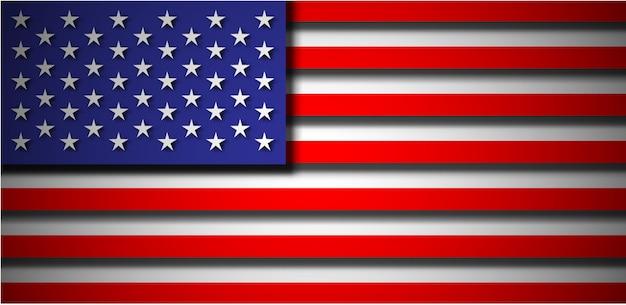Amerikanische flagge im papierschnittstil