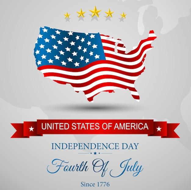 Amerikanische flagge karte für unabhängigkeitstag