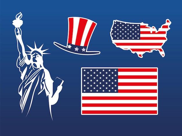 Amerikanische flagge karte hut statue set