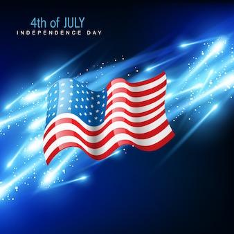 Amerikanische flagge mit glühenden blauen hintergrund
