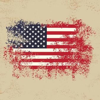 Amerikanische flagge mit grunge arthintergrund premuim vektor