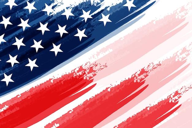 Amerikanische flagge mit schmutzarthintergrund-prämienvektor