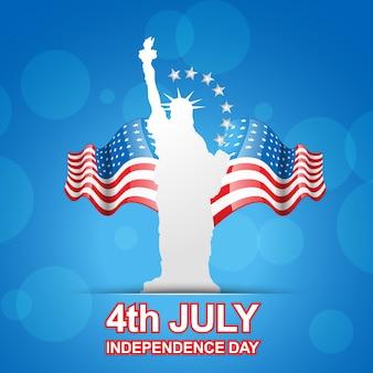 Amerikanische flagge mit statue der freiheit