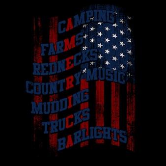 Amerikanische flagge mit typografie und grunge-stil