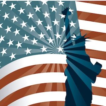 Amerikanische flagge über weißem hintergrund vektor-illustration