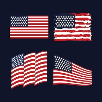 Amerikanische flaggen eingestellt