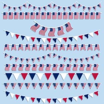 Amerikanische flaggen und wimpel