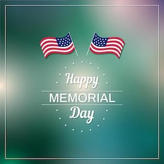 Amerikanische flaggen verwischten glücklichen gedenktag