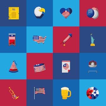 Amerikanische flaggenkarte vom 4. juliju