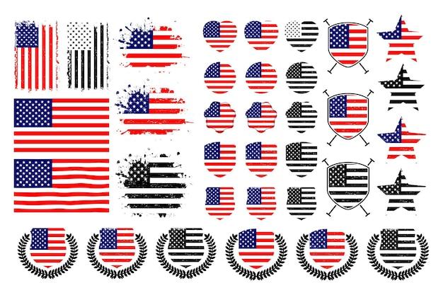 Amerikanische flaggenkollektion für print-t-shirts und mehr