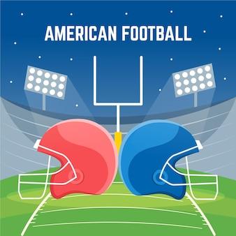 Amerikanische fußballillustration des flachen entwurfs
